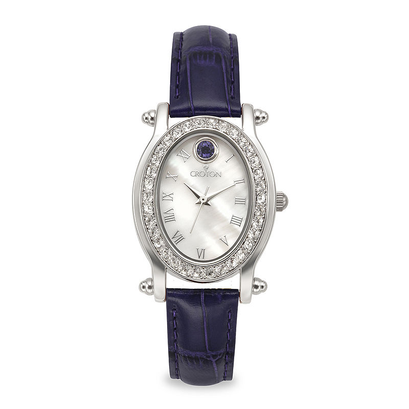 Croton Womens September Birthstone Crystal-Accent Purple Leather Strap Watch
