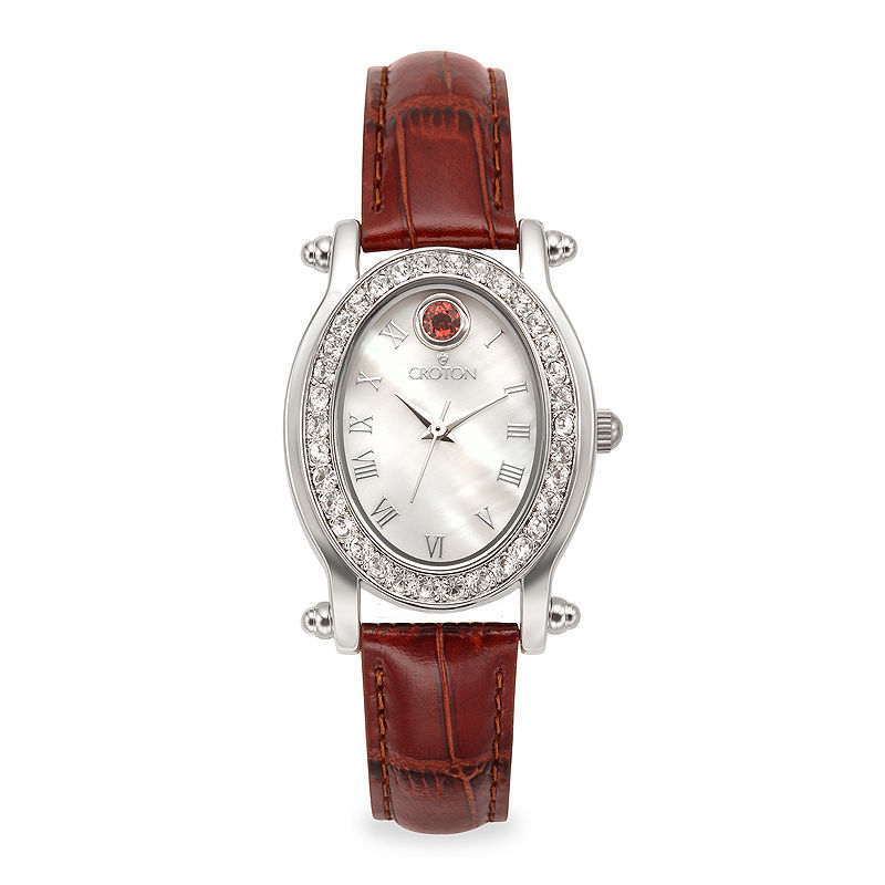 Croton Womens October Birthstone Crystal-Accent Red Leather Strap Watch