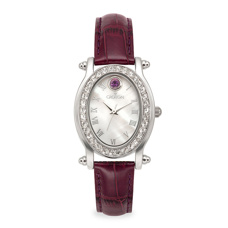 Croton Womens February Birthstone Crystal-Accent Purple Leather Strap Watch