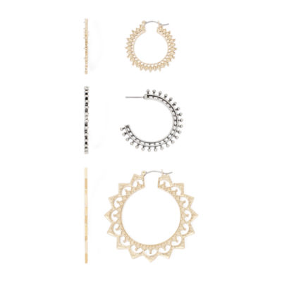 Decree® 3-pc. Gold-Tone Hoop Earrings Set