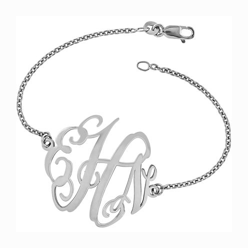 Personalized Sterling Silver 32x35mm Polished Monogram Bracelet