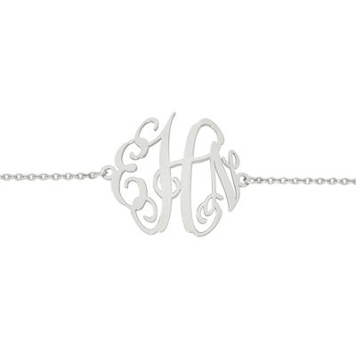 Personalized Sterling Silver 32x35mm Polished Monogram Bracelet