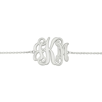 Personalized Sterling Silver 25x32mm Etched Outline Monogram Bracelet