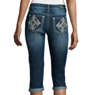 Love Indigo Lace Detail Cross Back Pocket Capris