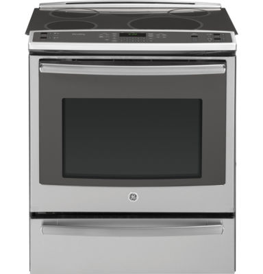 """GE Profile 30"""" 5.3 Cu. Ft. Slide-In Electric Rangewith Self Cleaning Induction and Convection Oven& Warming Drawer"""""""