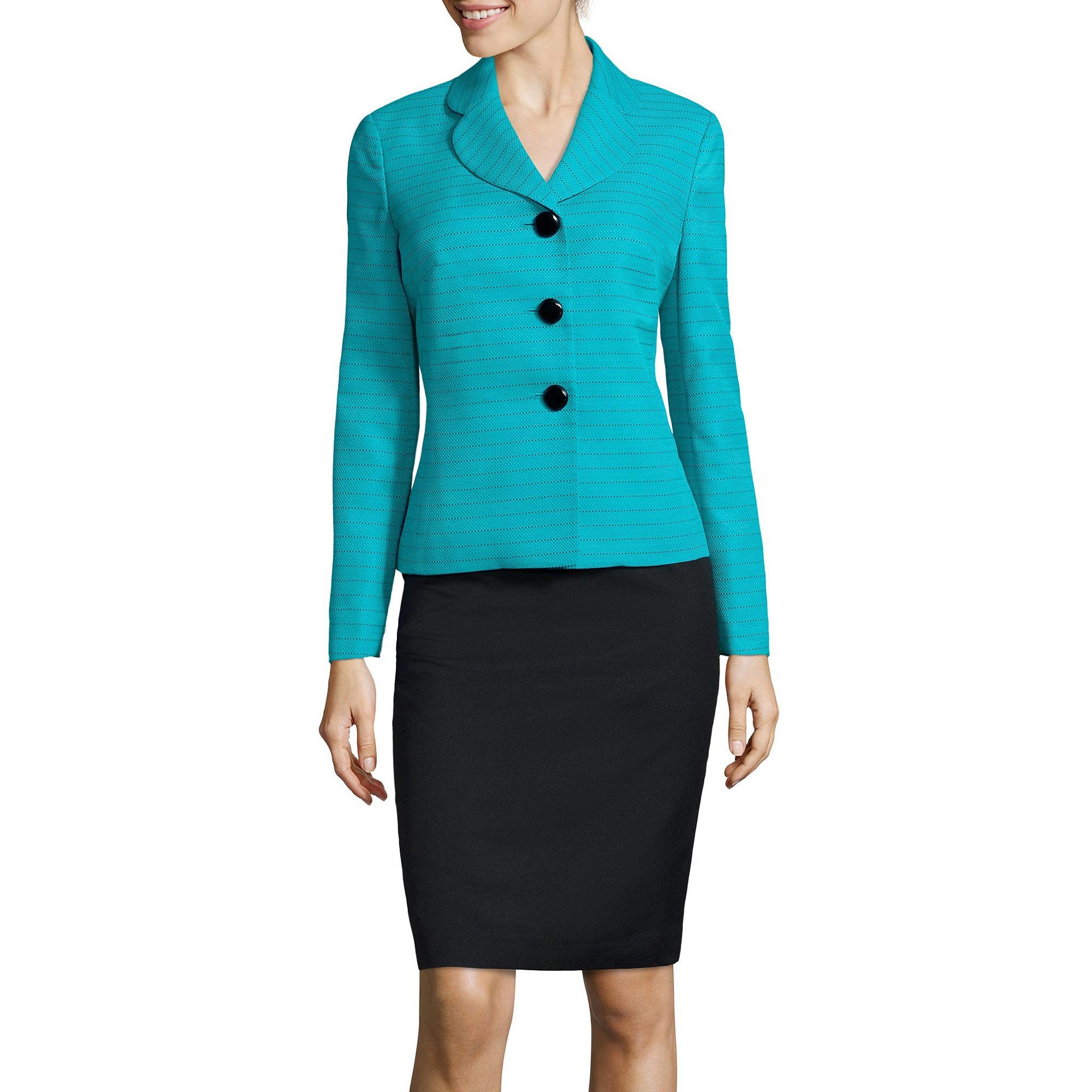Le Suit Long-Sleeve Pique Stripe Skirt Suit Set plus size,  plus size fashion plus size appare