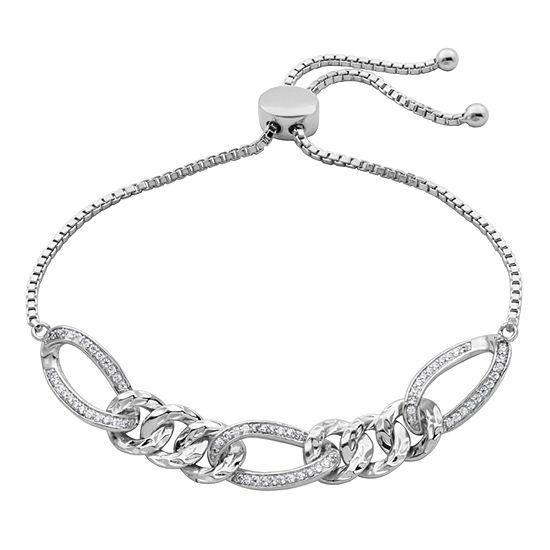 Diamonart Lab Created White Cubic Zirconia Sterling Silver Animal Bolo Bracelet