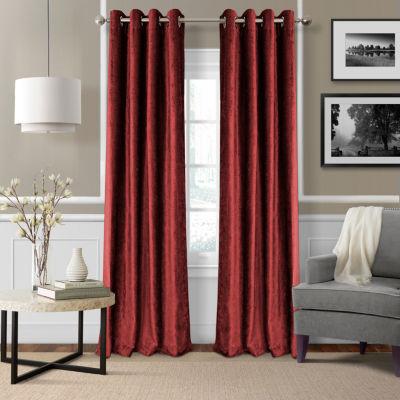 Elrene Victoria Velvet Grommet-Top Curtain Panel