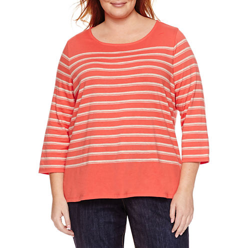 Liz Claiborne 3/4 Sleeve Boat Neck Stripe T-Shirt-Womens Plus