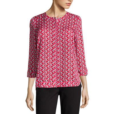 Liz Claiborne 3/4 Sleeve Y Neck Woven Blouse - Tall