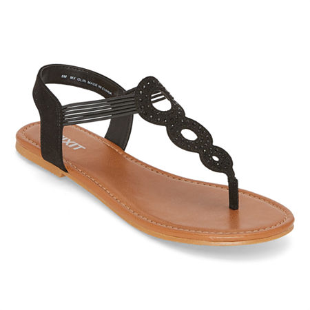 Vintage Sandals | Wedges, Espadrilles – 30s, 40s, 50s, 60s, 70s Mixit Womens Glin Flat Sandals 7 Medium Black $22.49 AT vintagedancer.com