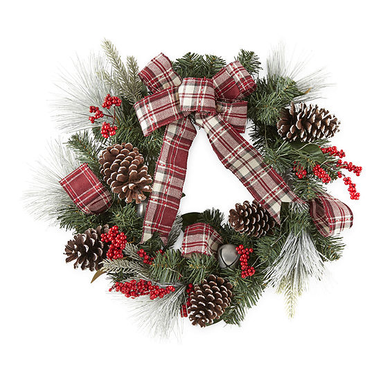 North Pole Trading Co. Plaid Ribbon Indoor Christmas Wreath