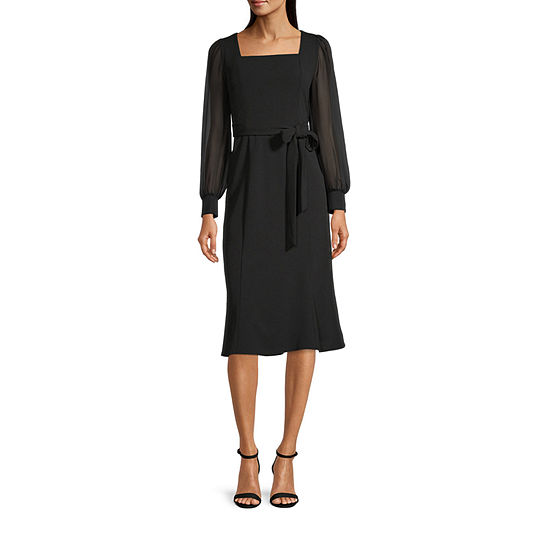 London Times Long Sleeve Fit & Flare Dress
