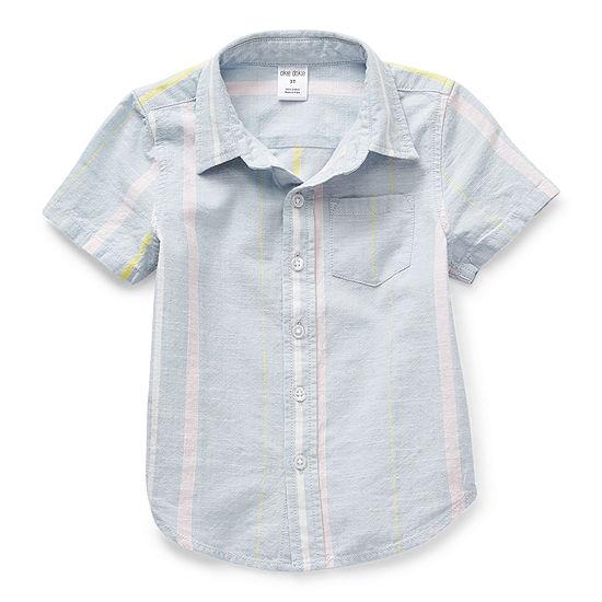 Okie Dokie Toddler Boys Short Sleeve Button-Down Shirt
