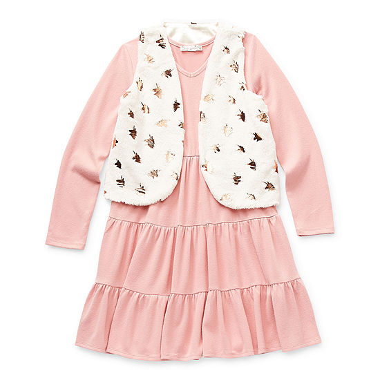 Knit Works Little & Big Girls Long Sleeve Fitted Sleeve 2-pc. Dress Set