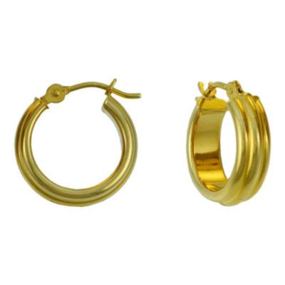 14K Gold Fluted Hoop Earrings