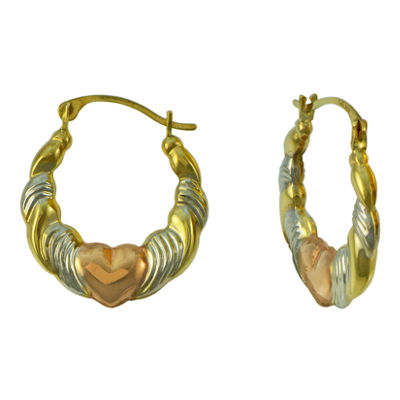 Tri-Tone 14K Gold Heart Hoop Earrings