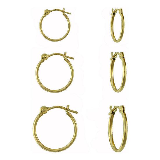 14K Gold 3-pr. Hoop Earring Set