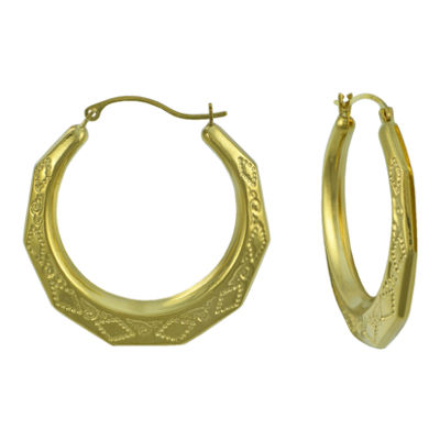 14K Gold Large Greek Key Hoop Earrings