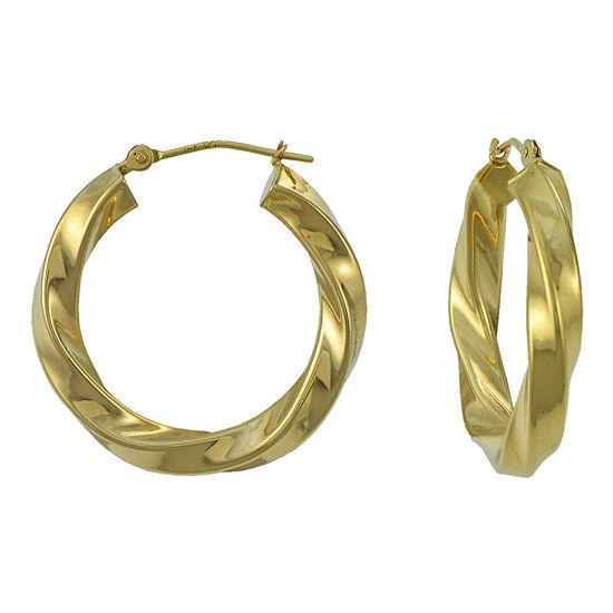 14K Yellow Gold 25mm Twist Hoop Earrings
