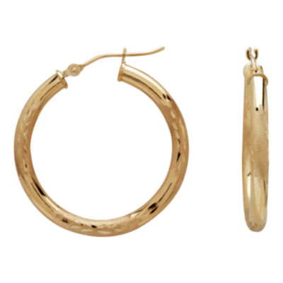 28mm 14K Gold Satin Diamond-Cut Hoop Earrings