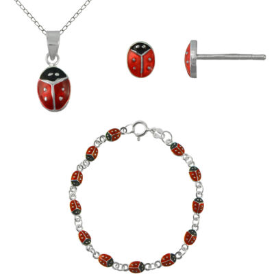 Girls Sterling Silver Ladybug 3-pc. Jewelry Set