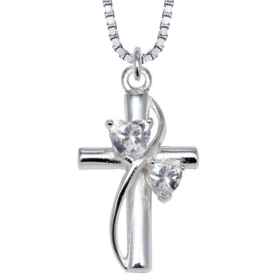 Inspired Moments™ Cubic Zirconia Heart Cross Pendant Sterling Silver Necklace