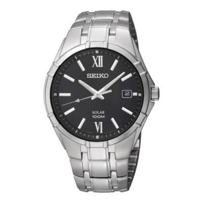 Seiko® Mens Black Dial Stainless Steel Solar Watch SNE215