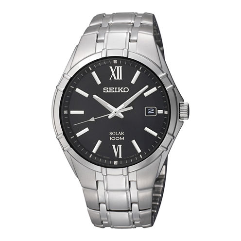 Seiko® Mens Black Dial Stainless Steel Solar Watch SNE215