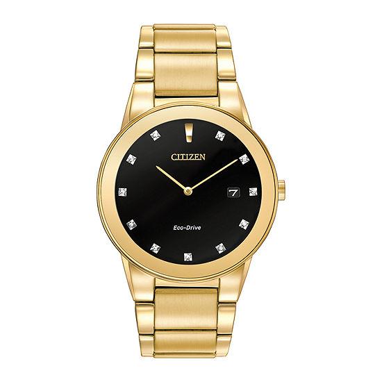 Citizen Axiom Mens Gold Tone Stainless Steel Bracelet Watch - Au1062-56g