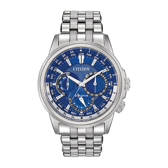 Citizen Calendrier Mens Multi-Function Silver Tone Stainless Steel Bracelet Watch-Bu2021-51l