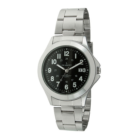 Peugeot® Mens Silver-Tone Military Watch