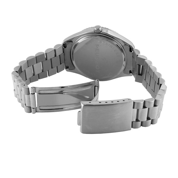 Peugeot® Mens Coin-Edge Bezel Stainless Steel Watch