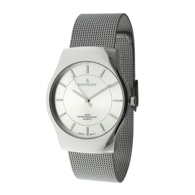 Peugeot® Mens Silver-Tone Mesh Watch