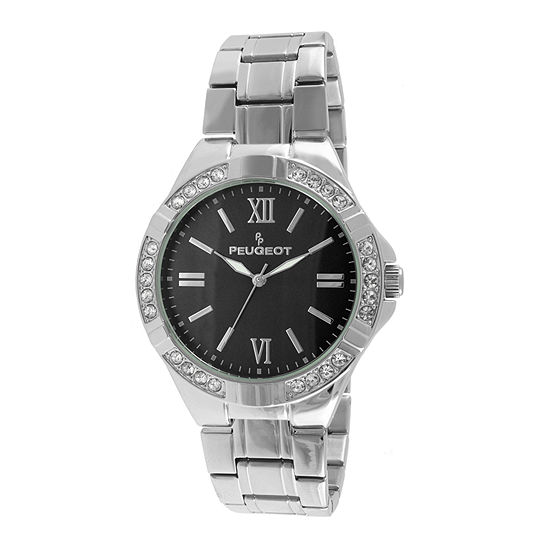 Peugeot® Mens Crystal-Accent Silver-Tone Watch