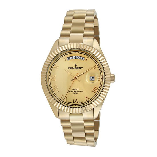 Peugeot® Mens Coin-Edge Bezel Gold-Tone Stainless Steel Watch