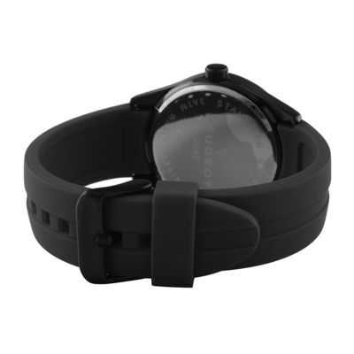 Peugeot® Mens Black Silicone Strap Sport Watch