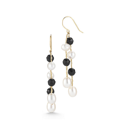 Cultured Freshwater Pearl and Dyed Onyx Linear Drop Earrings
