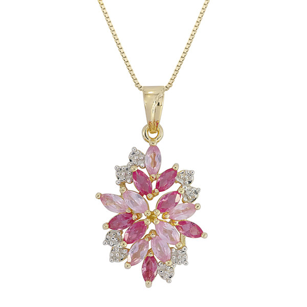 14K Gold over Silver Lab-Created Ruby and Pink & White Lab-Created Sapphire Flower Pendant Necklace