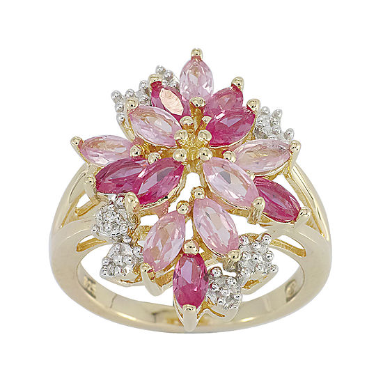 14k Gold Over Silver Lab Created Ruby And Pink White Lab Created Sapphire Flower Ring