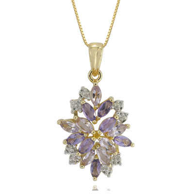 14K Gold over Silver Genuine Amethyst, Genuine Pink Quartz & Lab-Created White Sapphire Pendant Necklace
