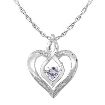 Fine Jewelry Love in Motion Simulated Emerald and Diamond-Accent Heart Pendant Necklace 3oHpoCw