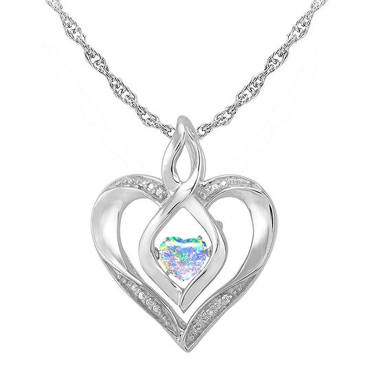 Love in motion dancing opal diamond accent heart pendant love in motion lab created opal and diamond accent heart pendant necklace aloadofball Image collections