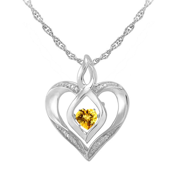 Love in motion dancing citrine diamond accent heart pendant love in motion genuine citrine diamond accent sterling silver heart pendant mozeypictures Image collections