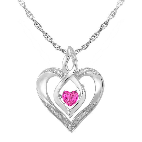 Love in Motion™ Lab-Created Pink Sapphire and Diamond-Accent Heart Pendant