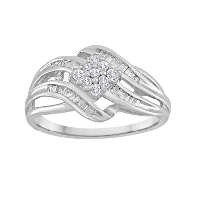 1/3 CT. T.W. Diamond 10K White Gold Multi-Top Swirl Ring