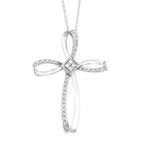 1/10 CT. T.W. Diamond 10K White Gold Cross Pendant Necklace