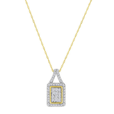 1/3 CT. T.W. Diamond 10K Yellow Gold Square Pendant Necklace