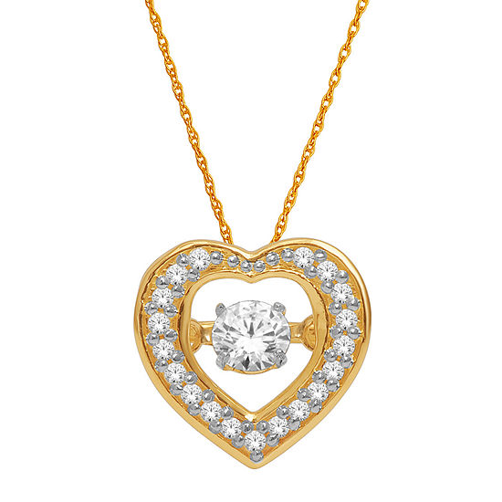 Love in Motion™ 1/4 CT. T.W. Diamond 10K Yellow Gold Heart Pendant Necklace