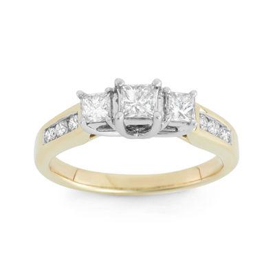 1 CT. T.W. Diamond 14K Yellow Gold Princess-Cut 3-Stone Bridal Ring